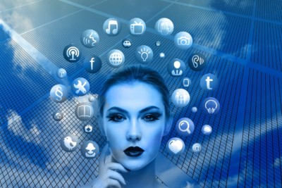 woman surrounded by social media icons in blue