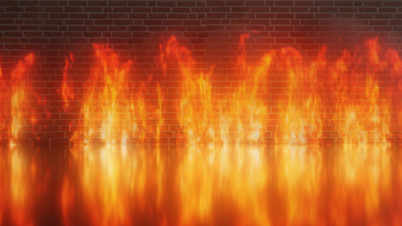 Fire infront of wall